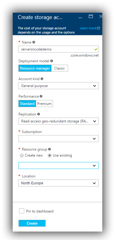 Create Azure Storage Group